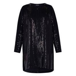 BEIGE LABEL BLACK SEQUIN LONG JACKET - Plus Size Collection