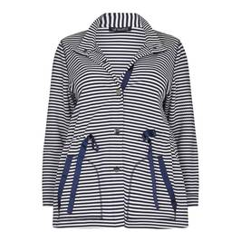 VERPASS blue breton stripe KNITTED JACKET - Plus Size Collection