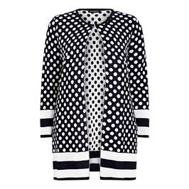 VERPASS POLKA DOT INTARSIA NAVY CARDIGAN - Plus Size Collection