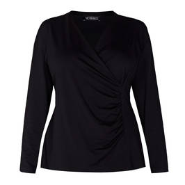 VERPASS JERSEY TOP RUCHED BLACK - Plus Size Collection