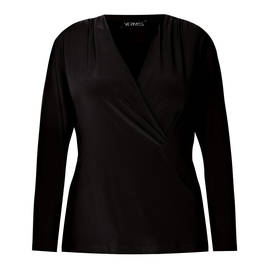 VERPASS JERSEY TOP CROSS-OVER BLACK - Plus Size Collection