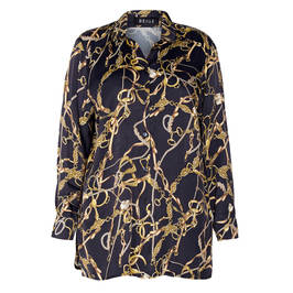 BEIGE LABEL EQUESTRIAN PRINT SATIN SHIRT BLACK AND GOLD  - Plus Size Collection