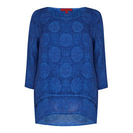 VETONO LINEN CIRCLE TUNIC BLUETTE - Plus Size Collection