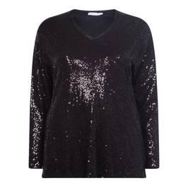 LUISA VIOLA V-NECK SEQUIN TOP BLACK - Plus Size Collection