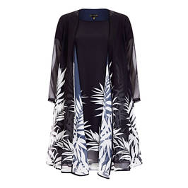 YOEK FERN PRINT DRESS AND DUSTER JACKET NAVY - Plus Size Collection