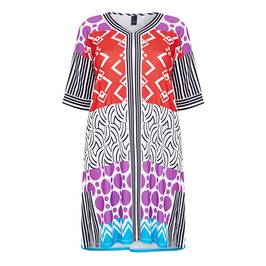 YOEK ABSTRACT PRINT DRESS  - Plus Size Collection