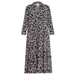 YOEK PRINT SHIRT DRESS BLACK AND WHITE  - Plus Size Collection