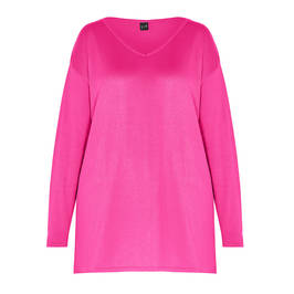 YOEK KNITTED TUNIC PINK - Plus Size Collection