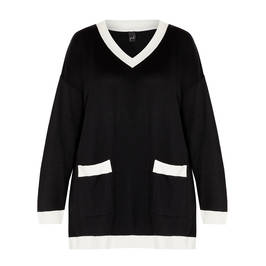 YOEK KNITTED TUNIC BLACK WITH WHITE TIPPING - Plus Size Collection