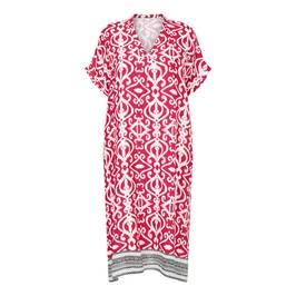 YOEK LINEN TILE PRINT DRESS RED - Plus Size Collection