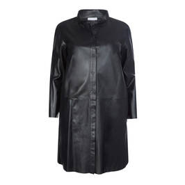 YOEK LONG LEATHER SHIRT WITH POCKETS - Plus Size Collection