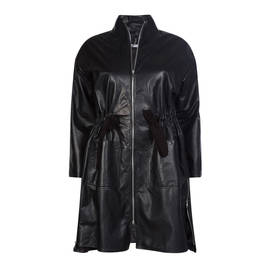 YOEK LEATHER COAT WITH DRAWSTRING WAIST - Plus Size Collection
