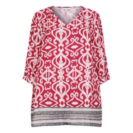 YOEK TILE PRINT TUNIC RED - Plus Size Collection