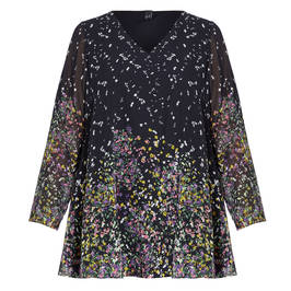 YOEK DITSY FLORAL GEORGETTE TUNIC - Plus Size Collection