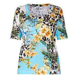 ZAIDA RIBBED TROPICAL PRINT T-SHIRT - Plus Size Collection