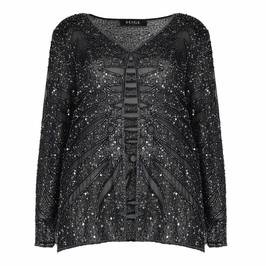BEIGE GUNMETAL SEQUINNED SILK JACKET - Plus Size Collection