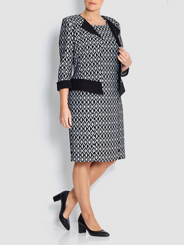Georgede black and grey geometric jacquard dress outfit