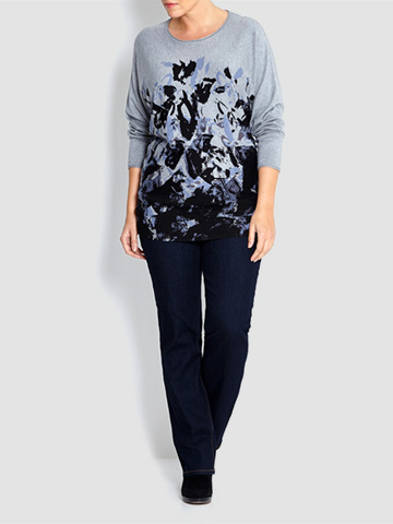 Krizia degrade print knit tunic in blue tones