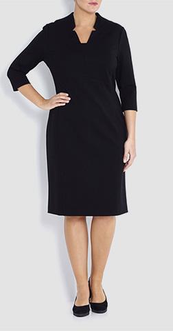 Basler Notch Neck Black Dress