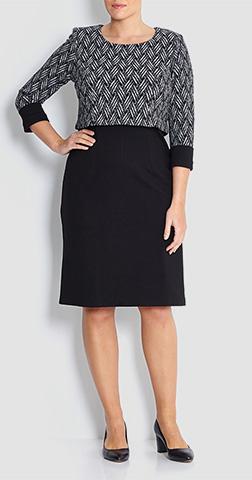 Georgede Black Print Top Effect Dress