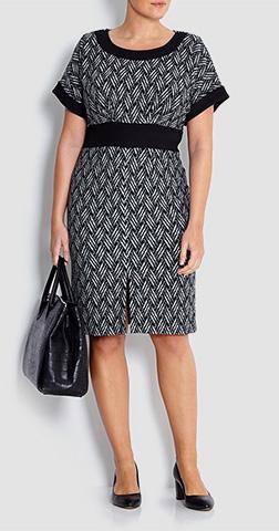 Georgede Basket Weave Jacquard Dress