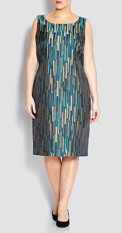 Marina Rinaldi Geometric Brocade Dress