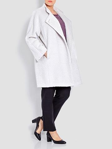 Marina Rinaldi Ice White Mandarin Collar Coat