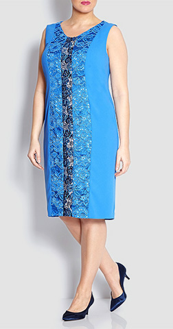 Marina Rinaldi Panelled Dress With Optional Sleeves