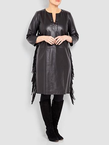Yoek Black Leather Dress With Side Fringe