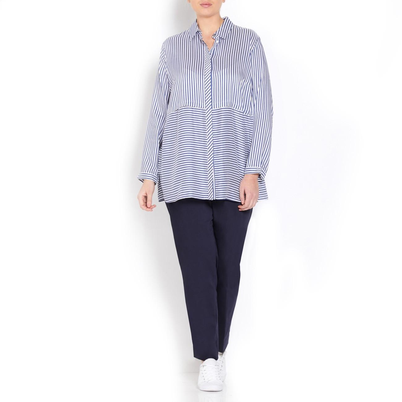 Elena Miro Blue Stripe Silky Shirt
