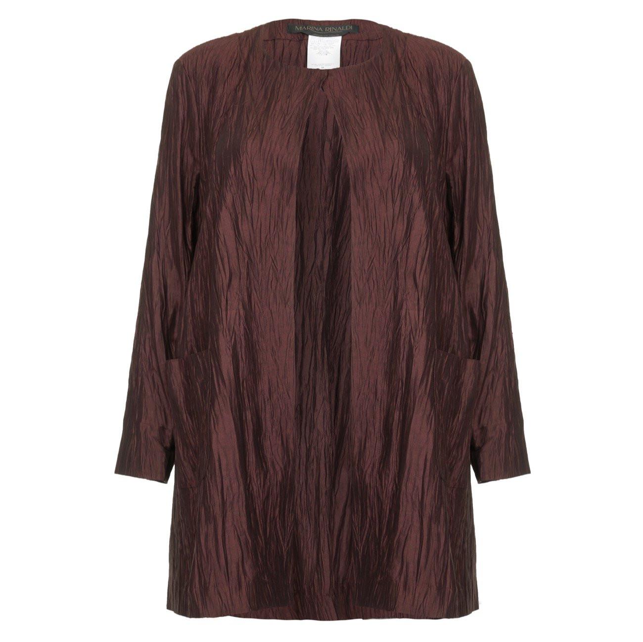 Marina Rinaldi Mahogany Crushed Linen Silk Jacket