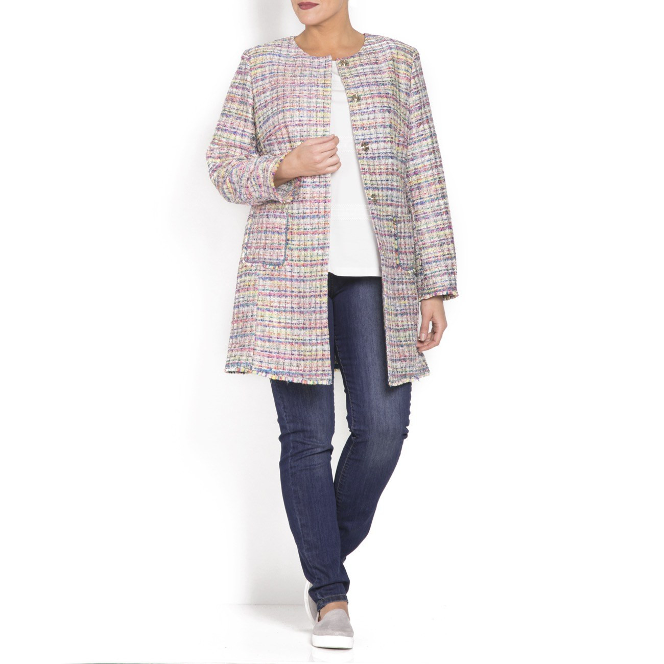 Multi Coloured Tweed Jacket With Fringe Detail