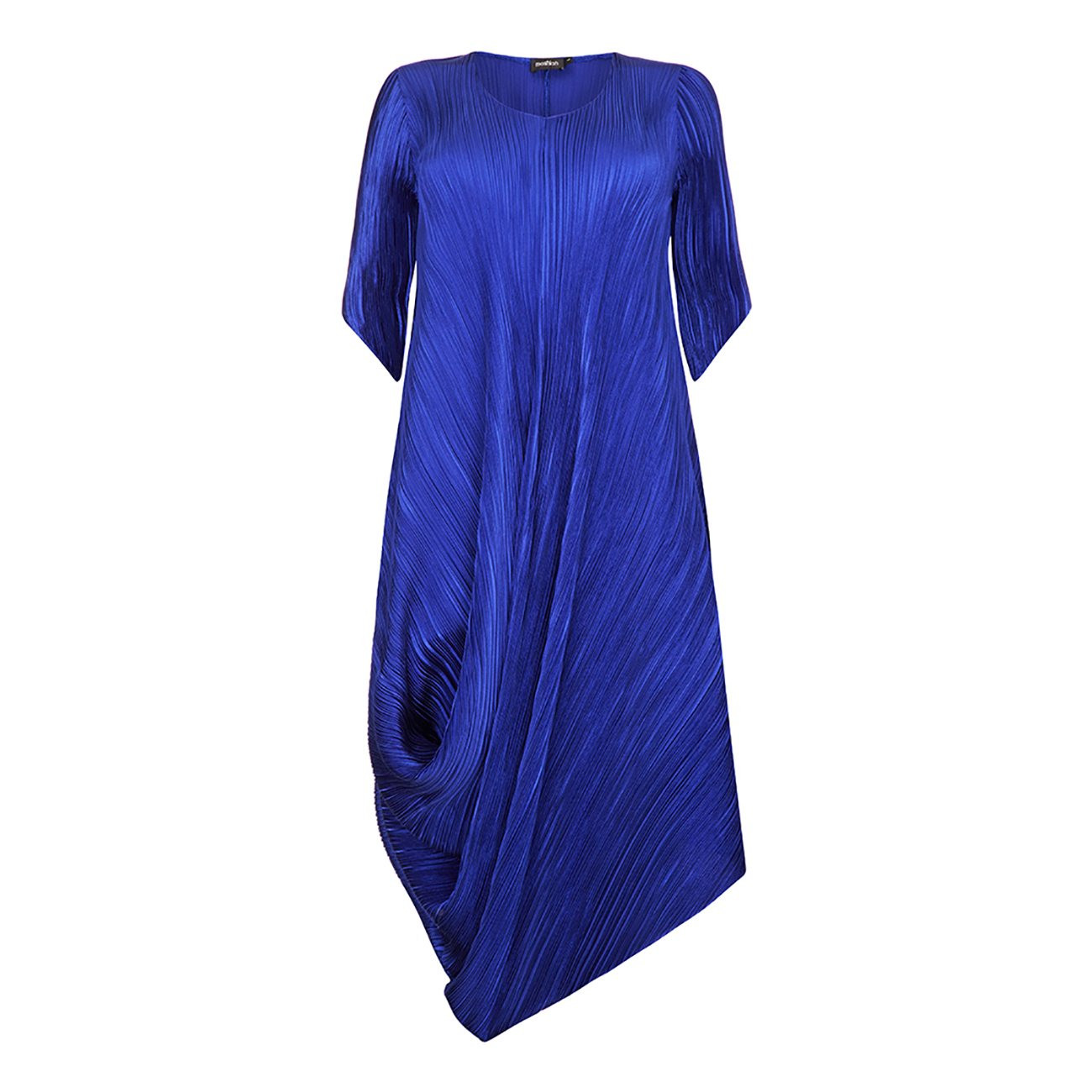 Mashiah Blue Pleated Satin Statement Dress
