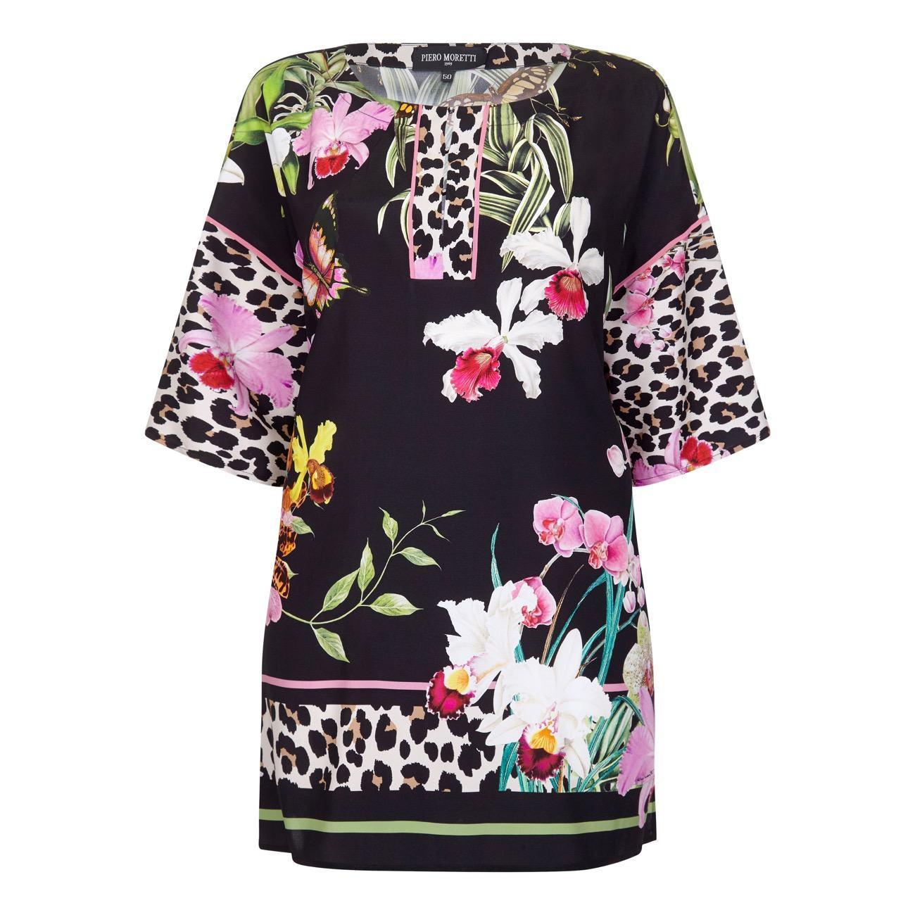 Piero Moretti Silk Blend Floral Tunic
