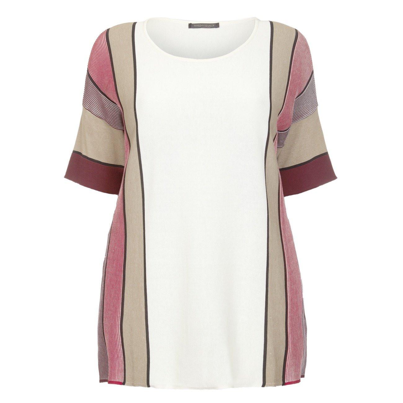 Marina Rinaldi Print Mahogany Striped Tunic