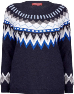 MARINA RINALDI NAVY LUREX FAIR ISLE SWEATER